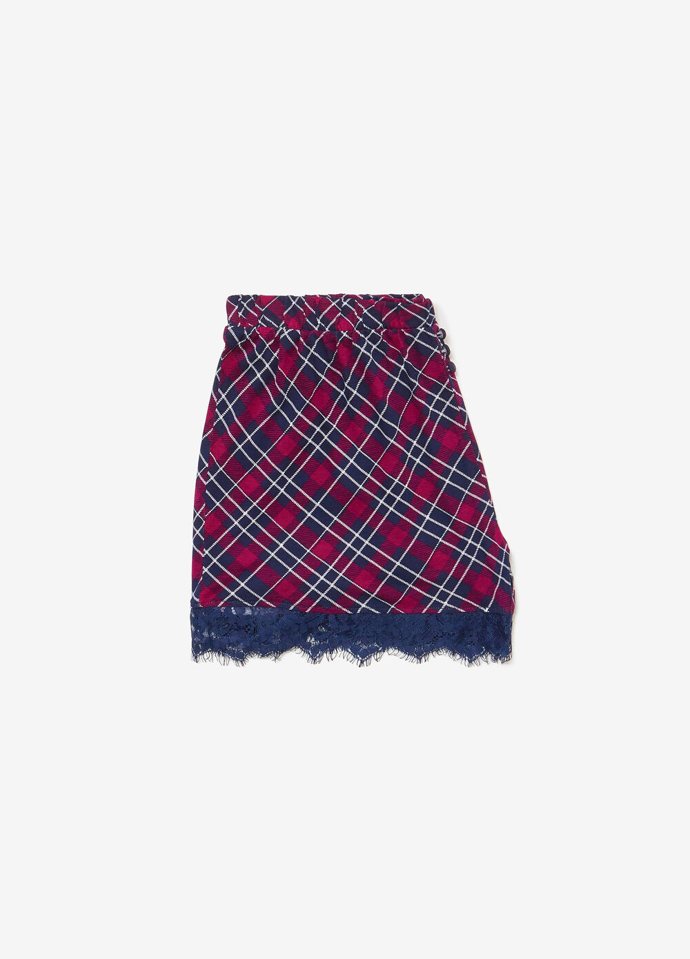 Tartan viscose pyjama shorts with lace