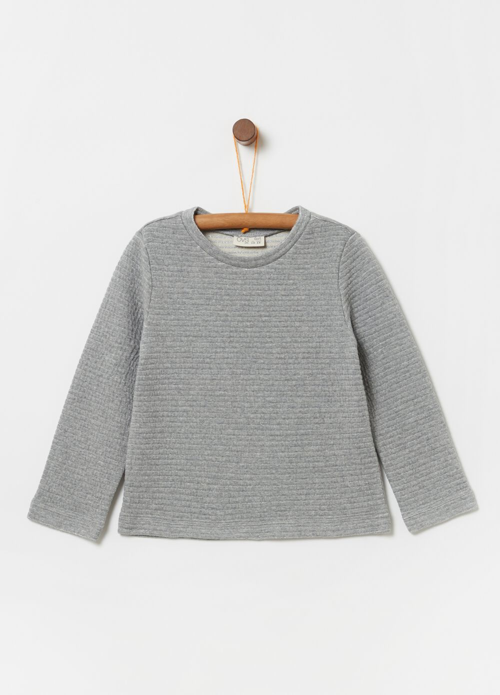 Mélange sweatshirt with quilted-effect lurex