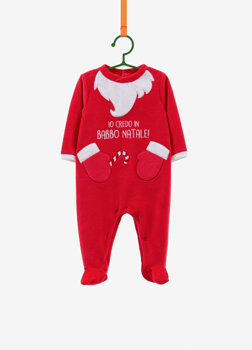 BCI cotton blend onesie with Father Christmas patch