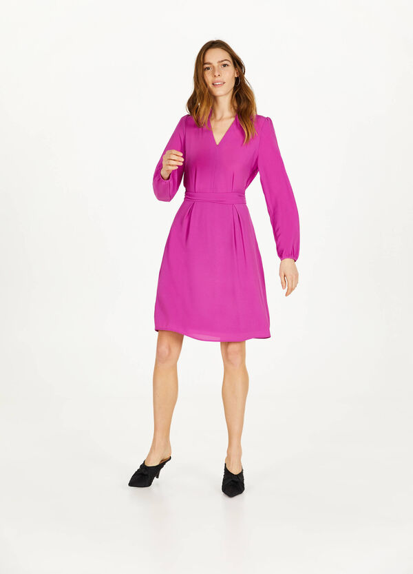 V-neck stretch dress with flounces
