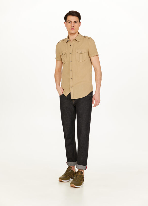 Linen and cotton shirt with epaulettes
