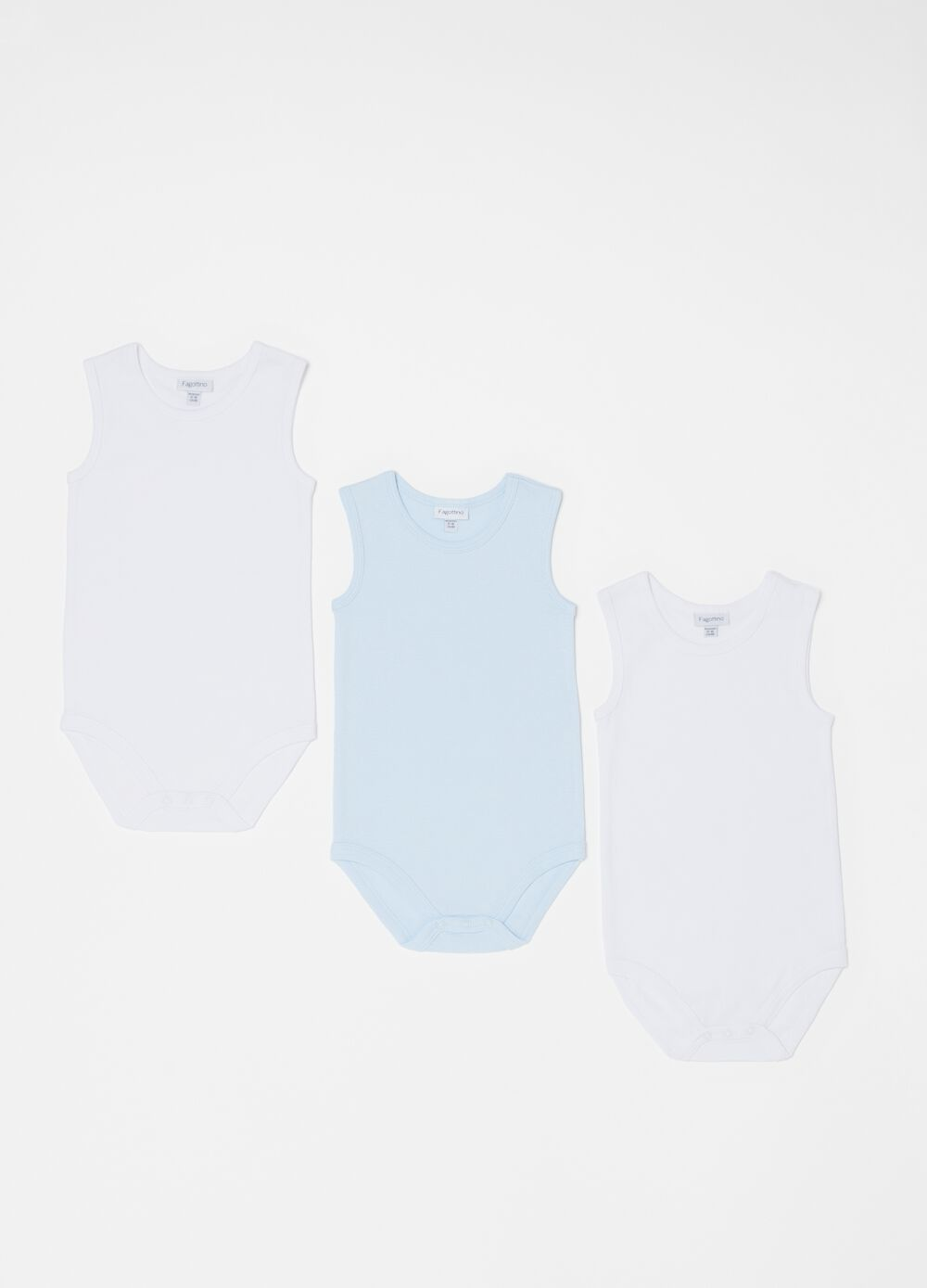 Three-pack of solid colour 100% organic cotton bodysuits
