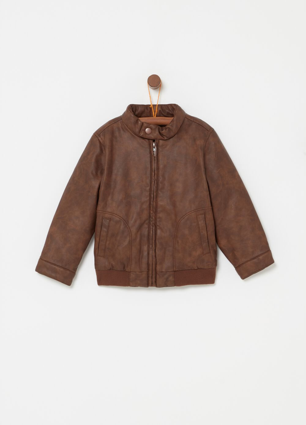 Leather-look jacket with zip and pockets