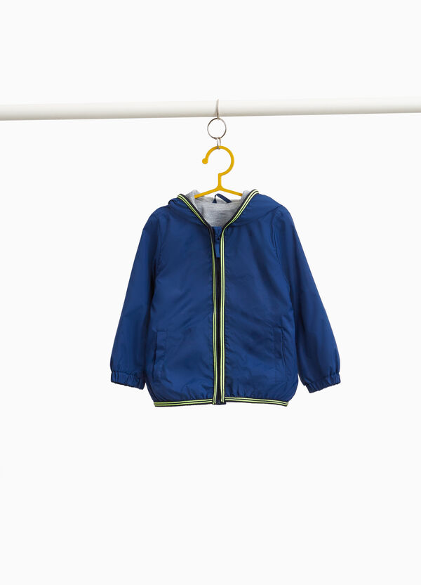 Jacket with striped ribbing
