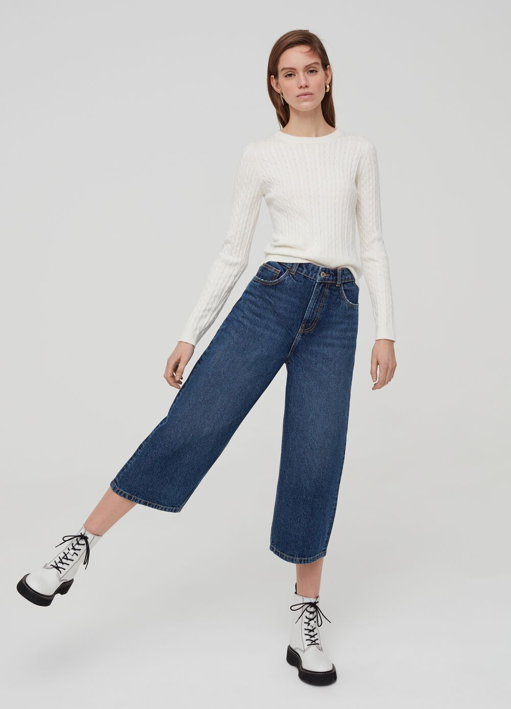Culotte jeans with five pockets