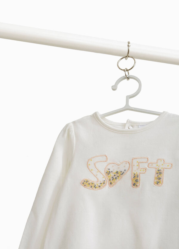 T-shirt with beads and lettering embroidery