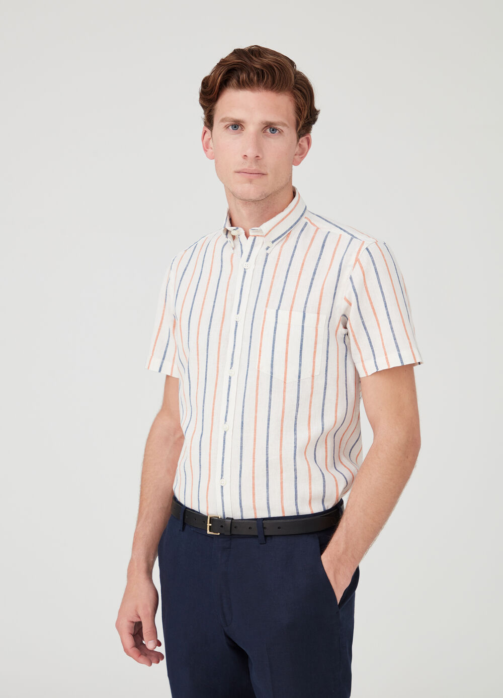 Striped short-sleeved shirt with button-down collar