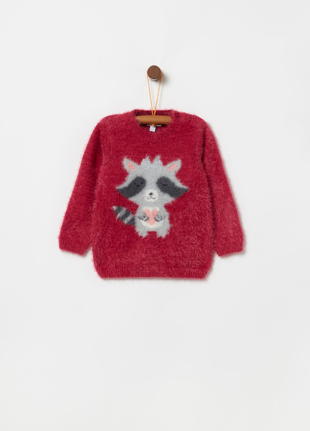 Pullover with raccoon embroidery and lurex