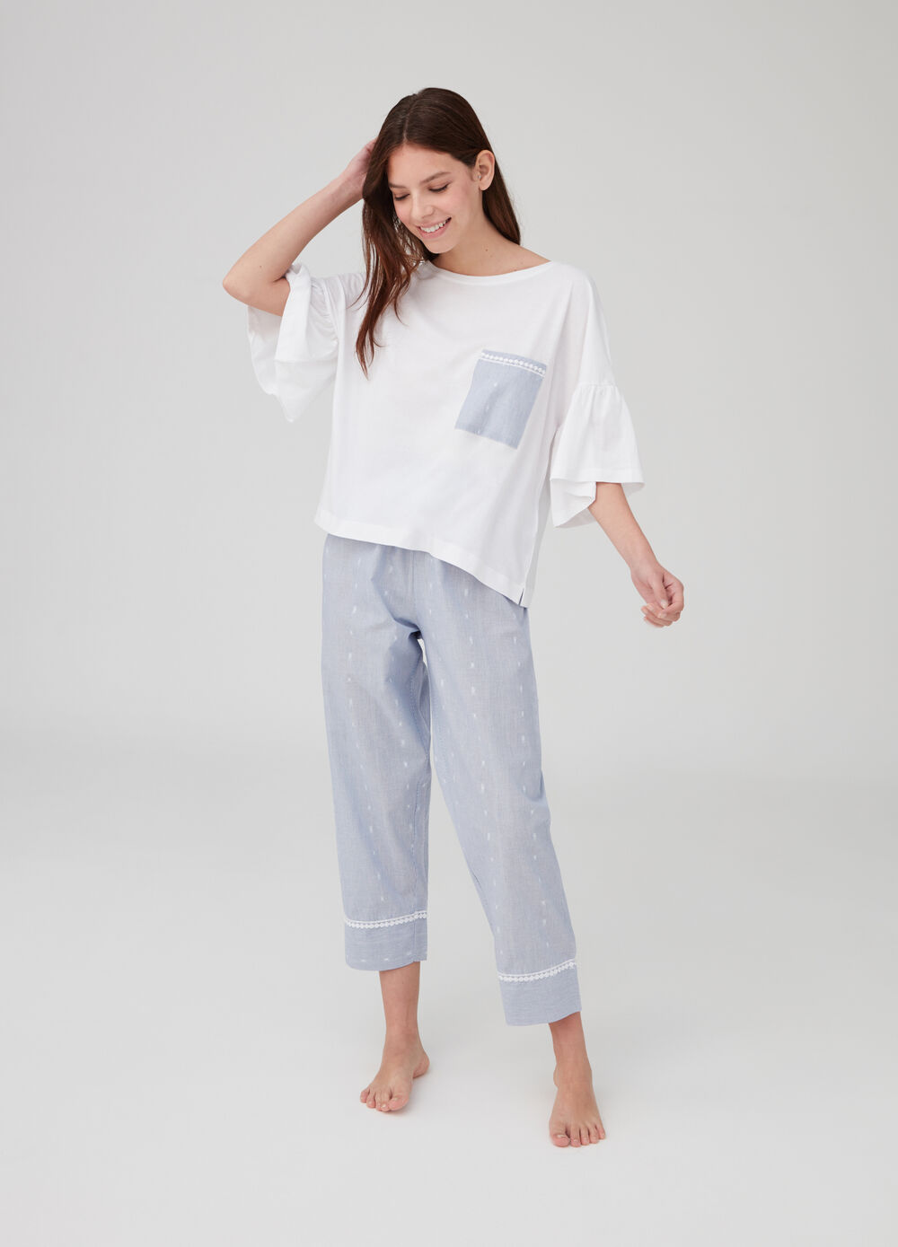 Striped pyjamas with crop trousers and top