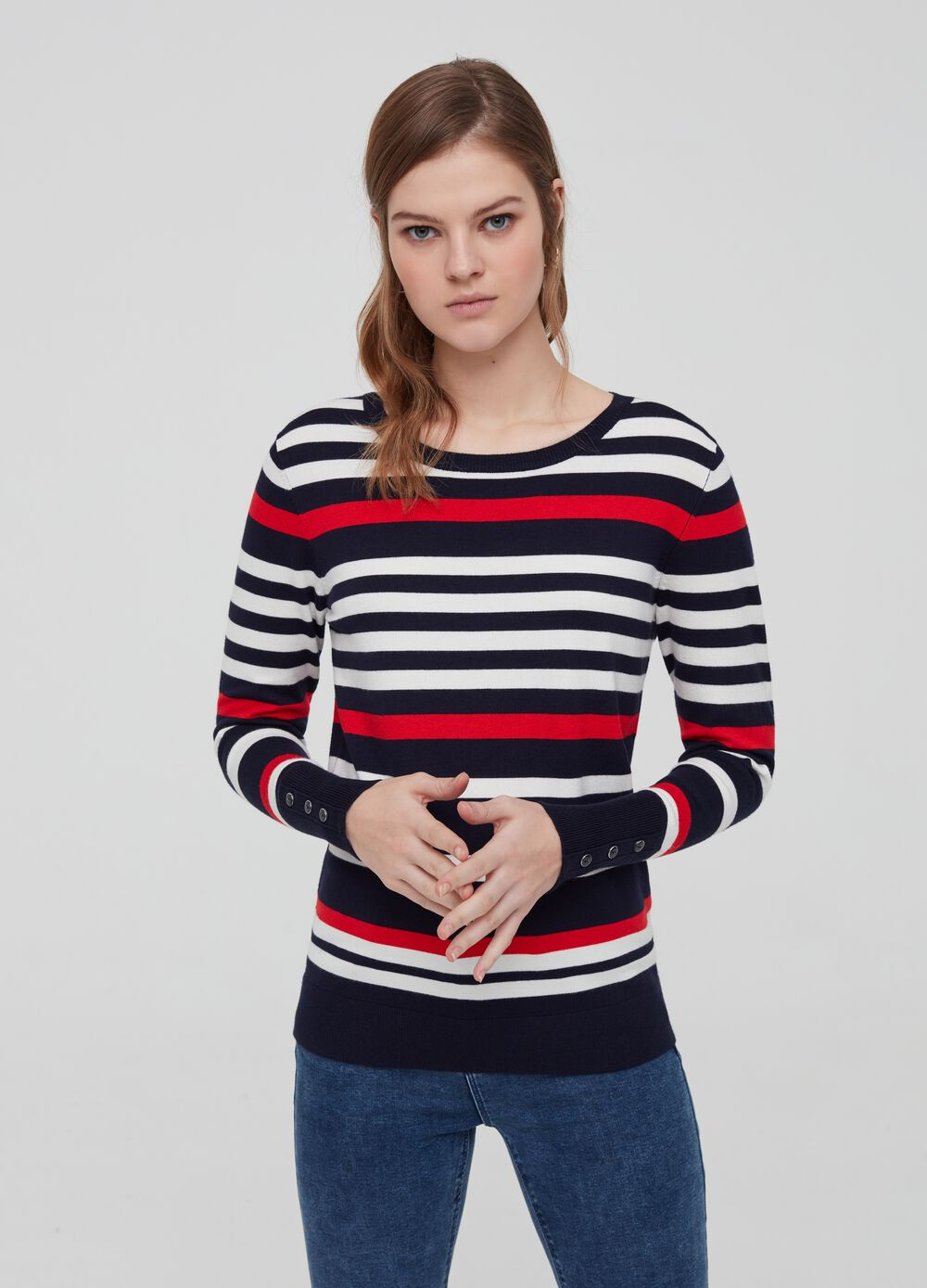 Pullover with striped buttons