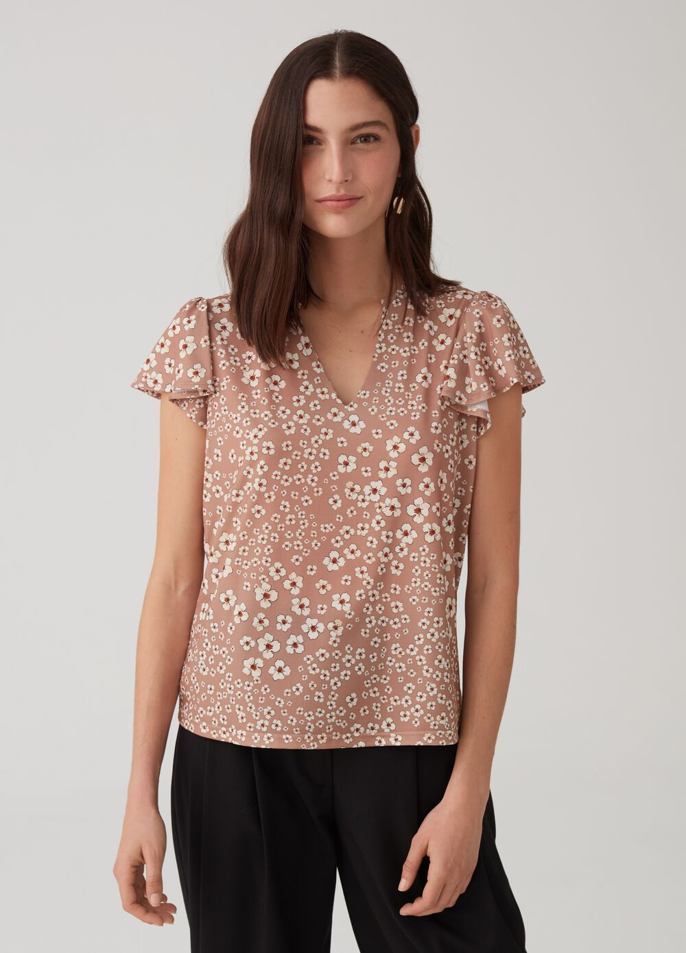Stretch T-shirt with floral cap sleeves