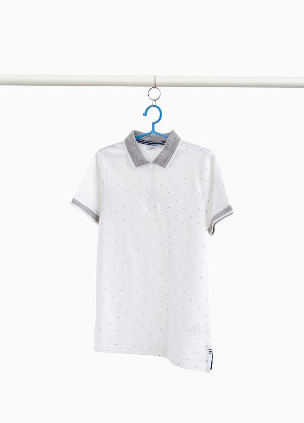 100% cotton polo shirt with zip and pattern