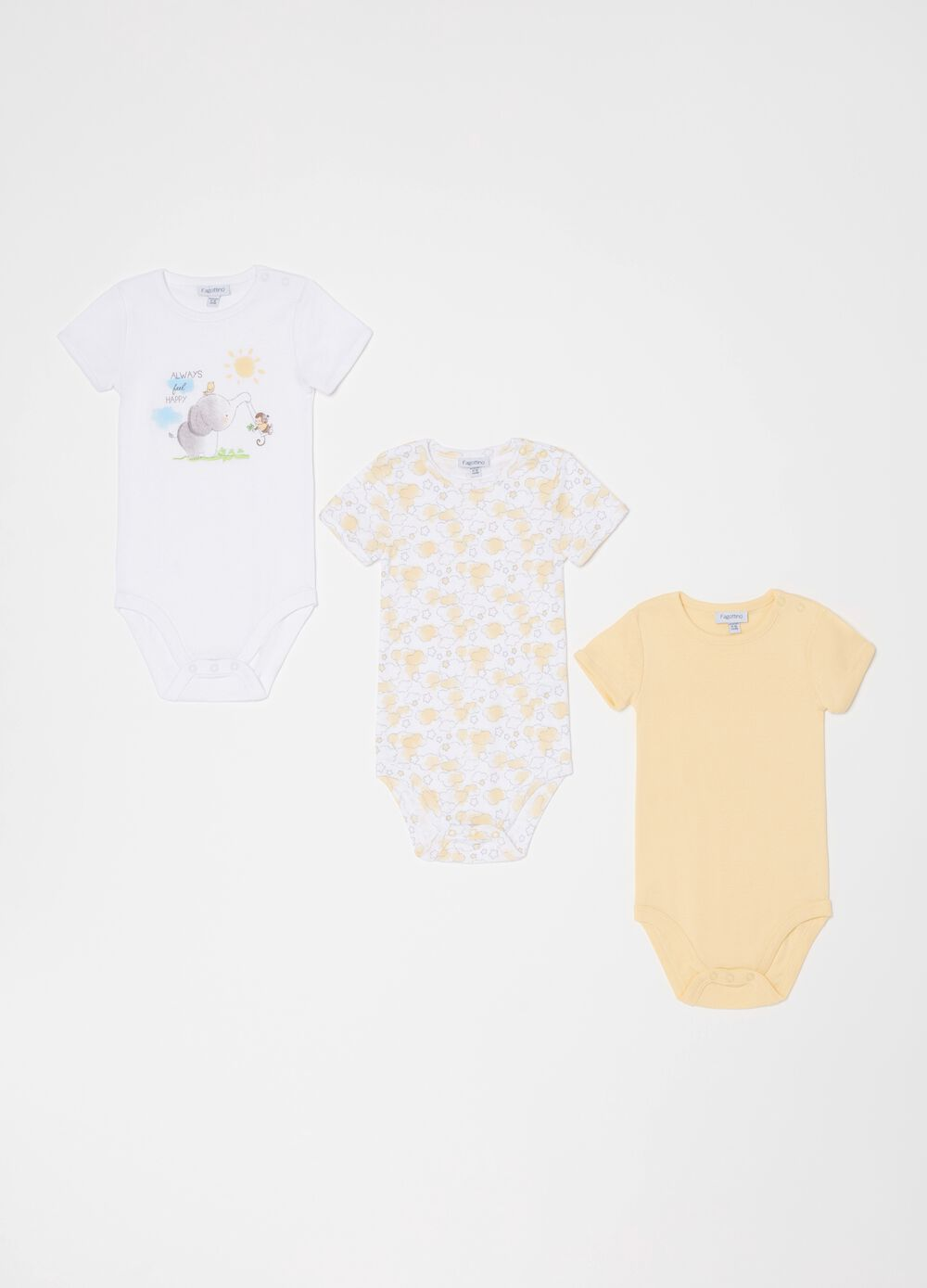 Three-pack short-sleeved bodysuits