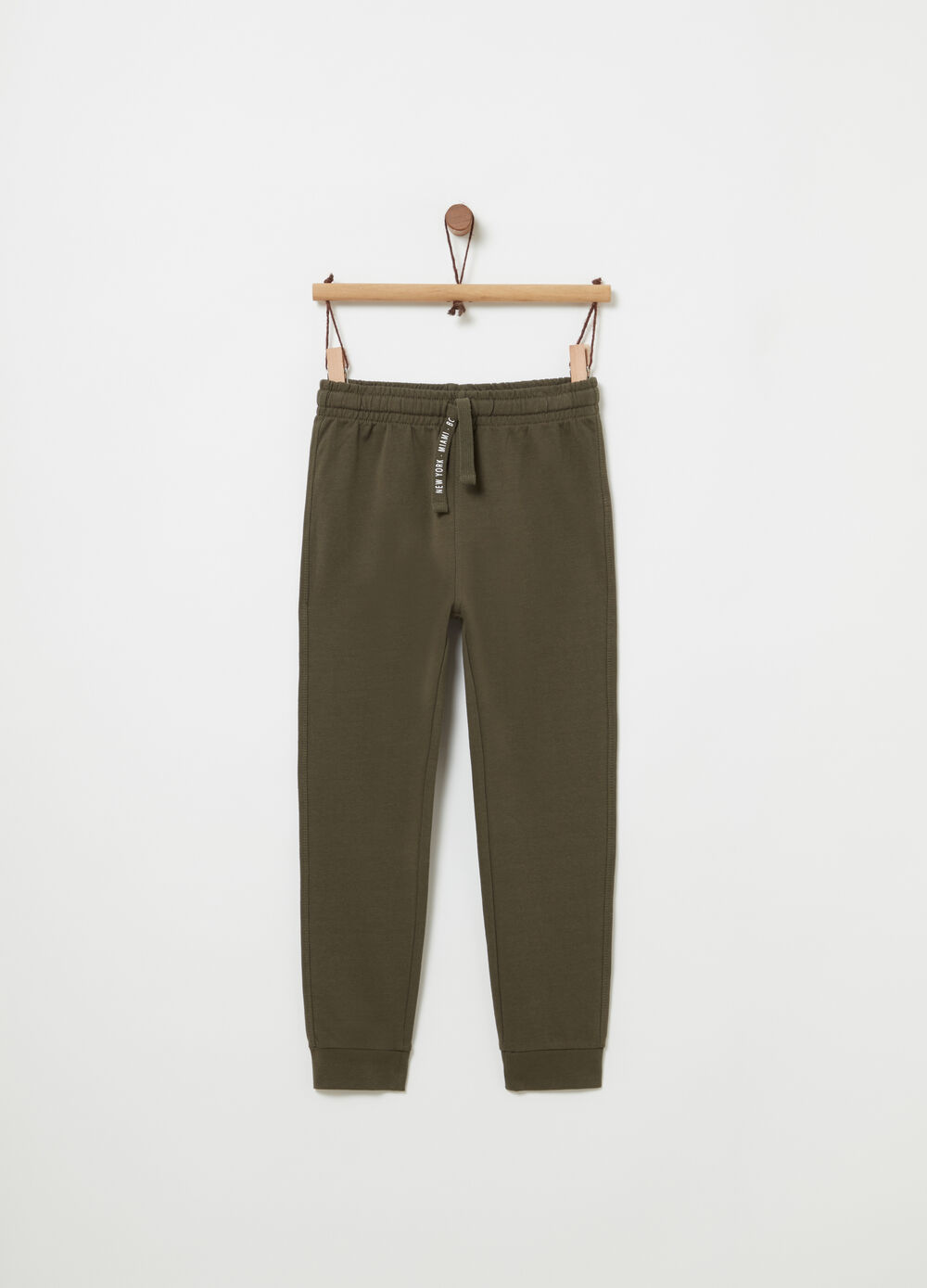 Pantaloni regular fit French Terry e tasca