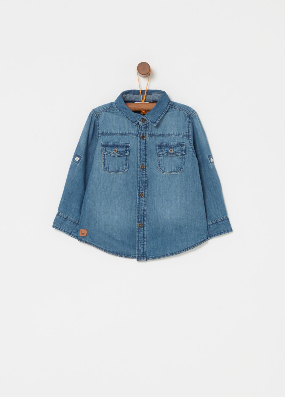 Washed denim shirt with pockets