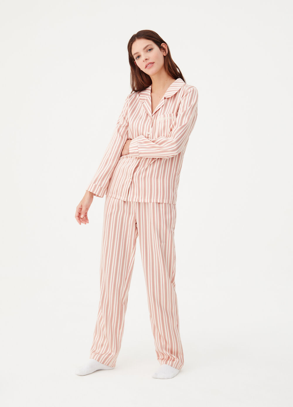 Satin nightshirt with striped pocket