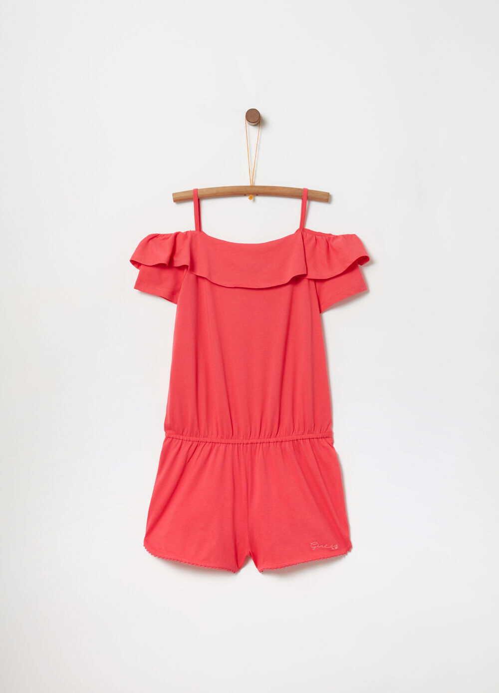 Short playsuit with bare shoulders and flounce