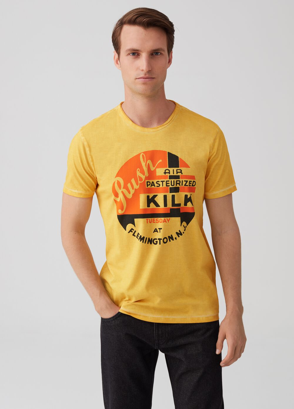 100% cotton misdyed T-shirt with lettering