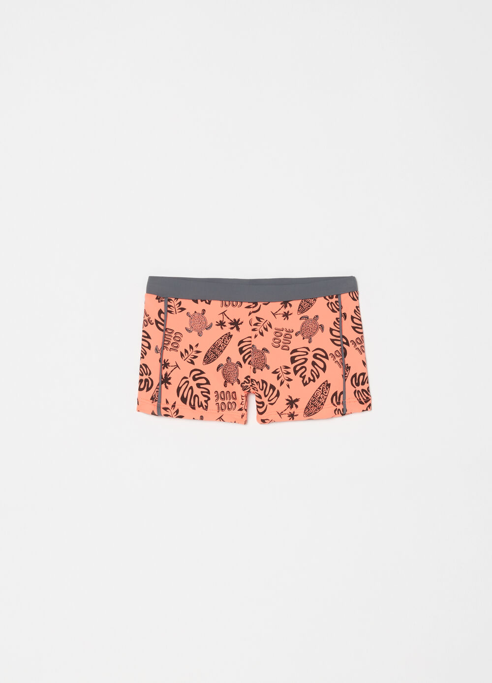 Stretch swim boxer shorts with beach pattern