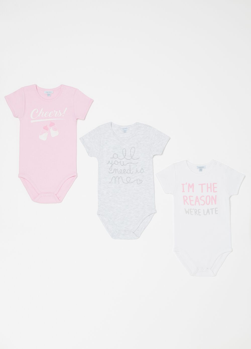 Three-pack bodysuits in 100% organic cotton with print