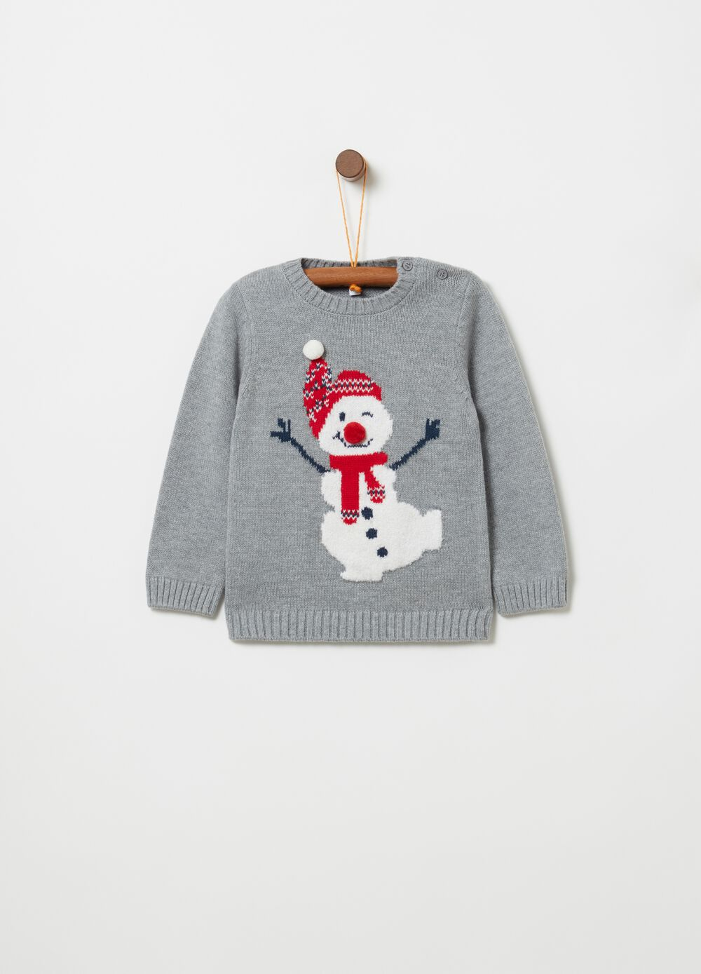 Knitted crew-neck top with snowman embroidery