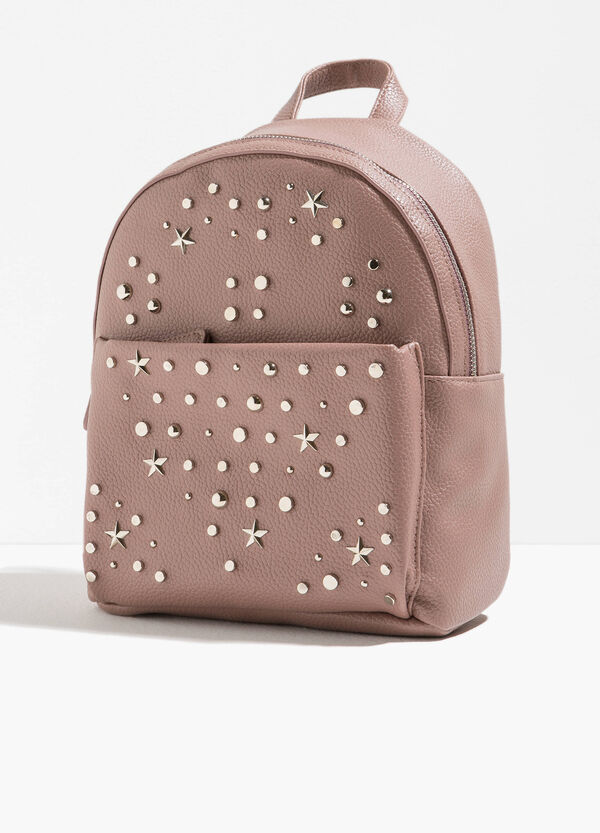Textured-effect backpack with studs | OVS
