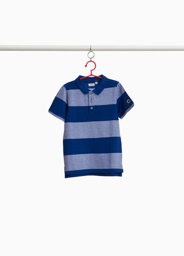 Striped pattern polo shirt in cotton blend