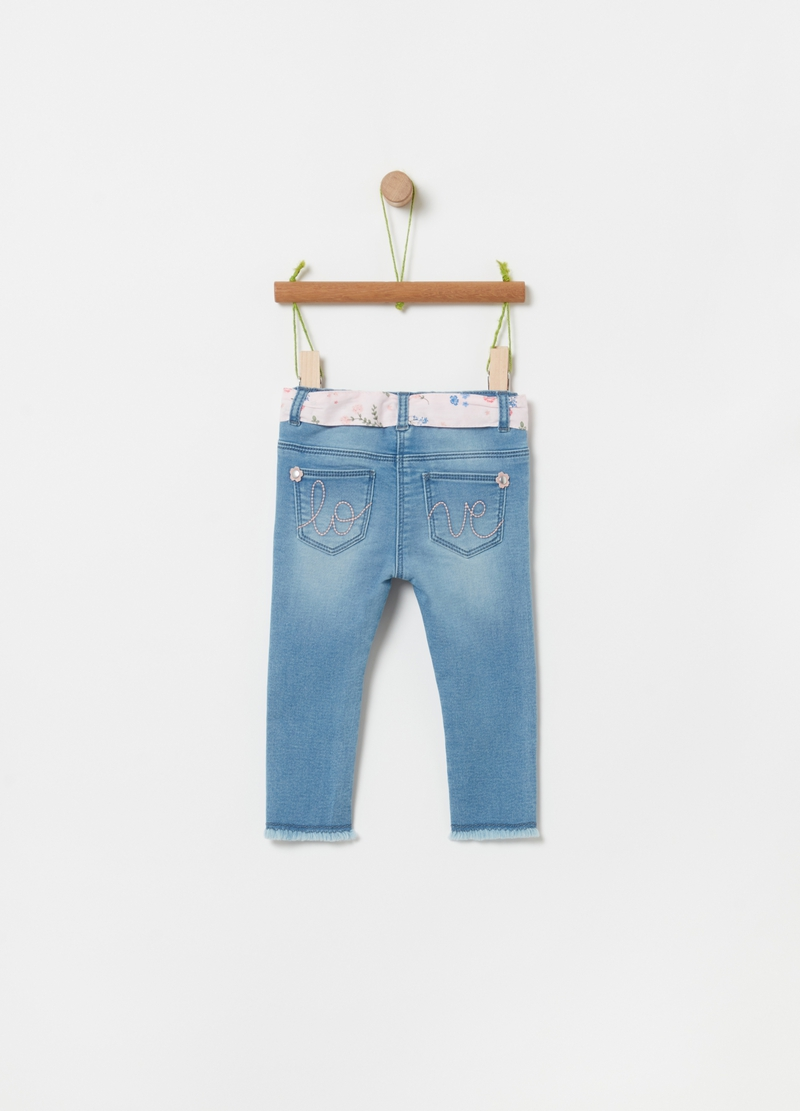 French terry denim joggers image number null