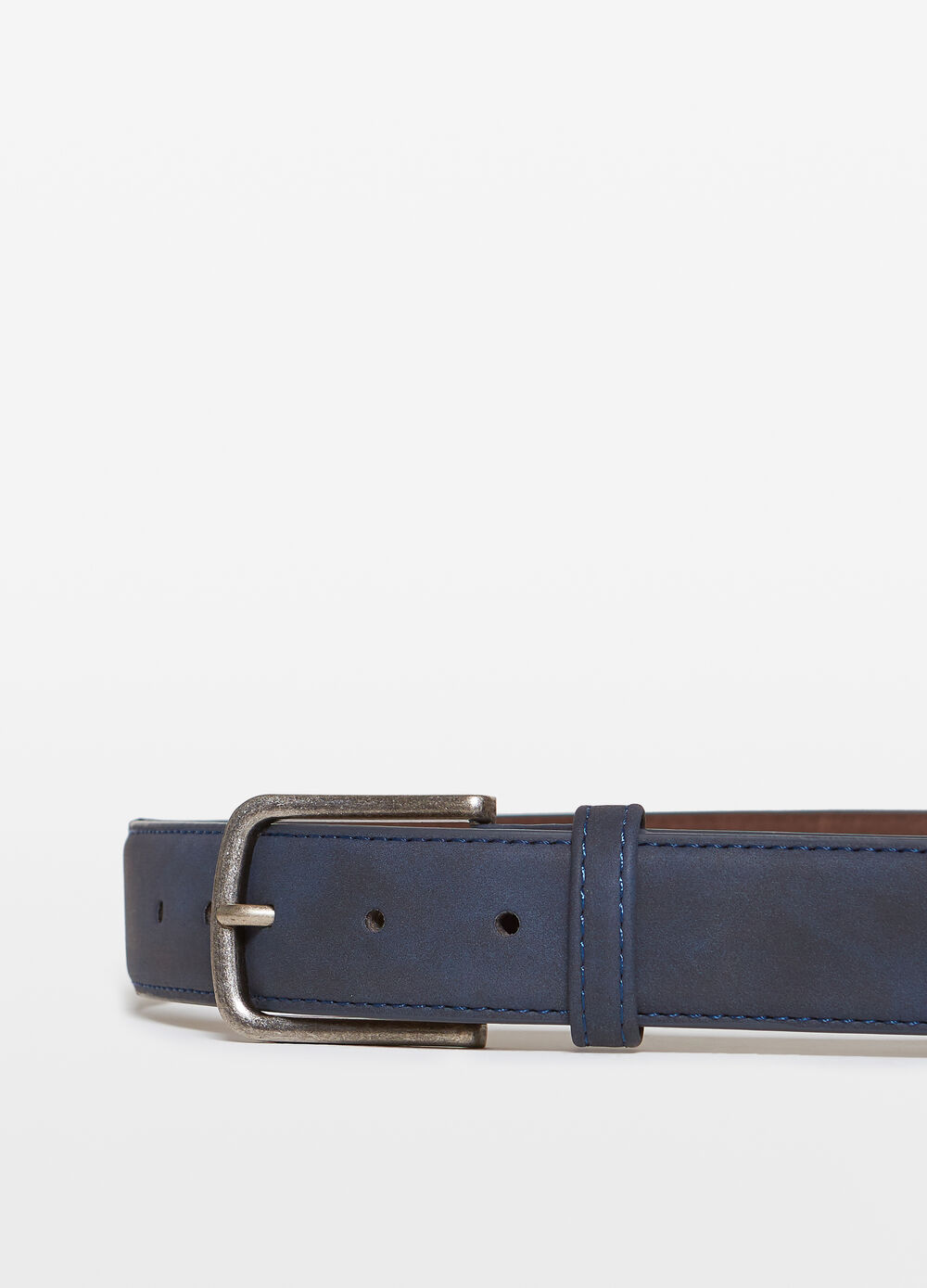 Suede belt with antique-effect buckle
