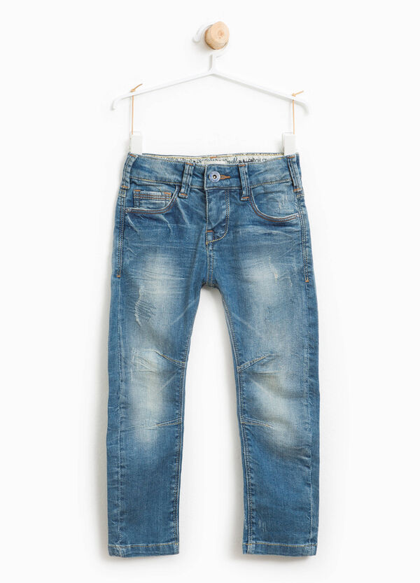 Used-effect stretch jeans with abrasions | OVS