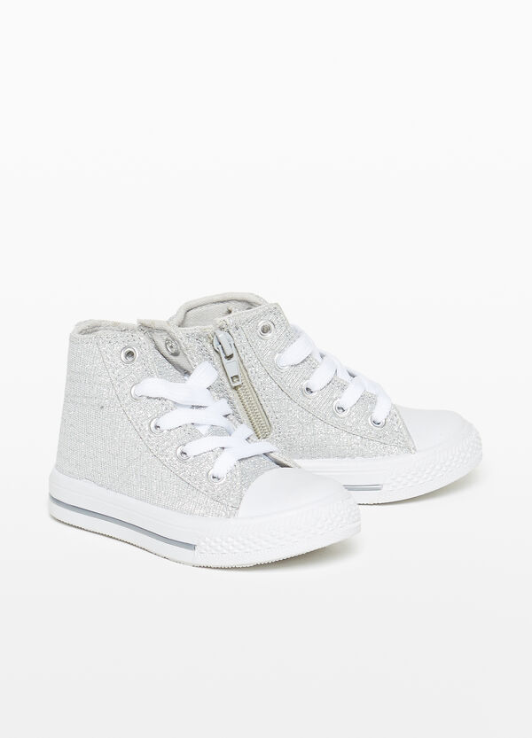 High-top sneakers with glitter canvas