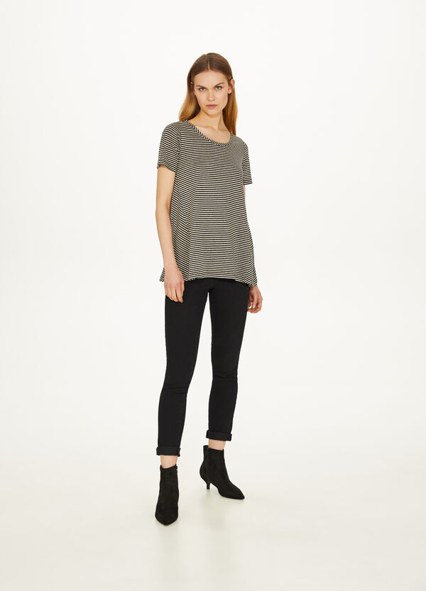 Linen and cotton T-shirt with stripes