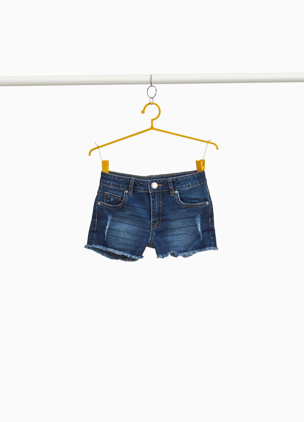 Stretch denim shorts with abrasions