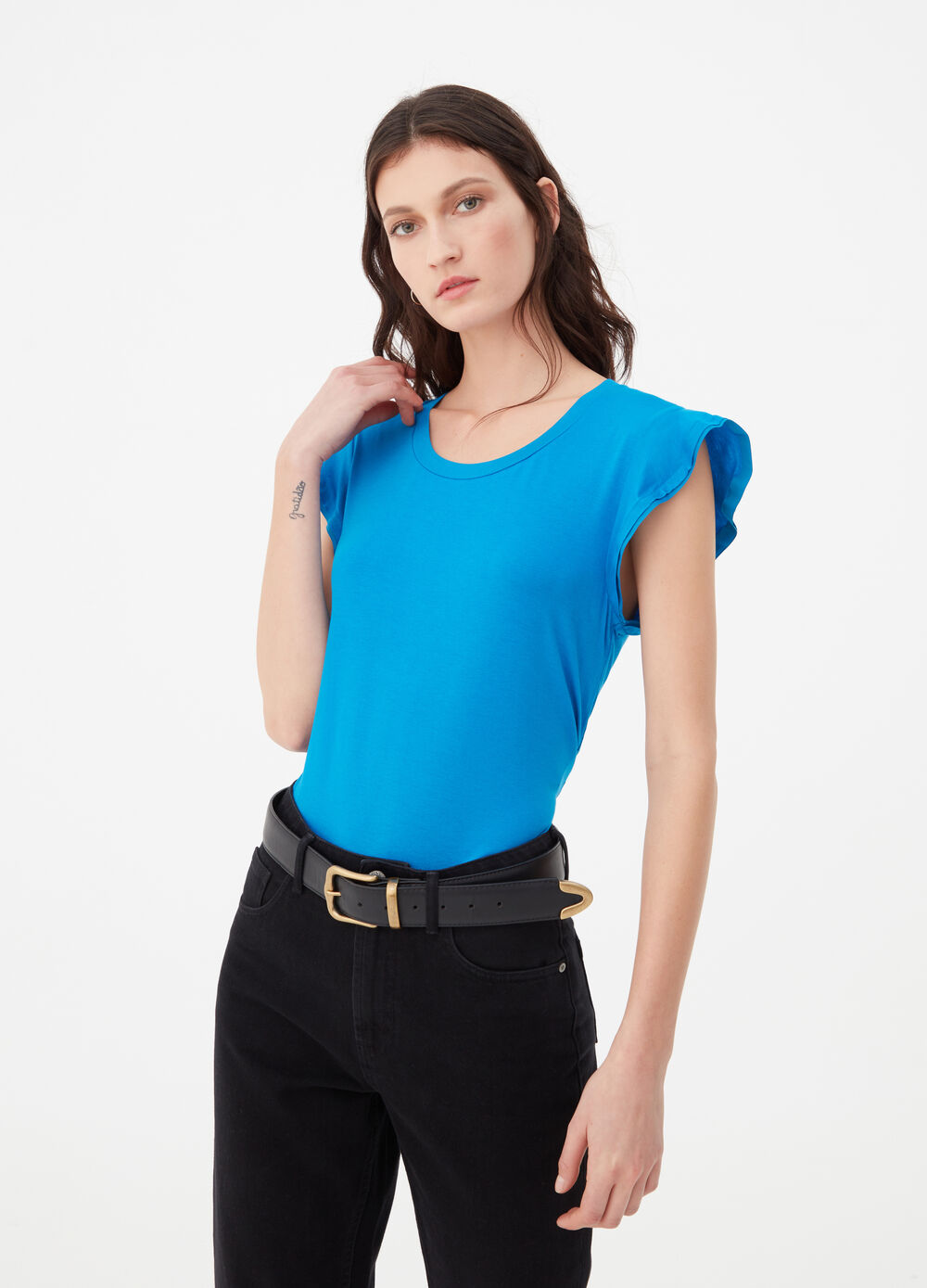 Stretch viscose T-shirt with rouches