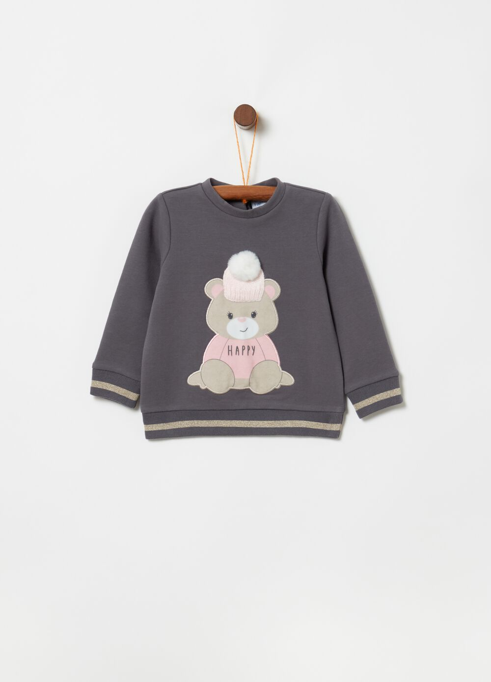 Sweatshirt with teddy bear embroidery and pompom