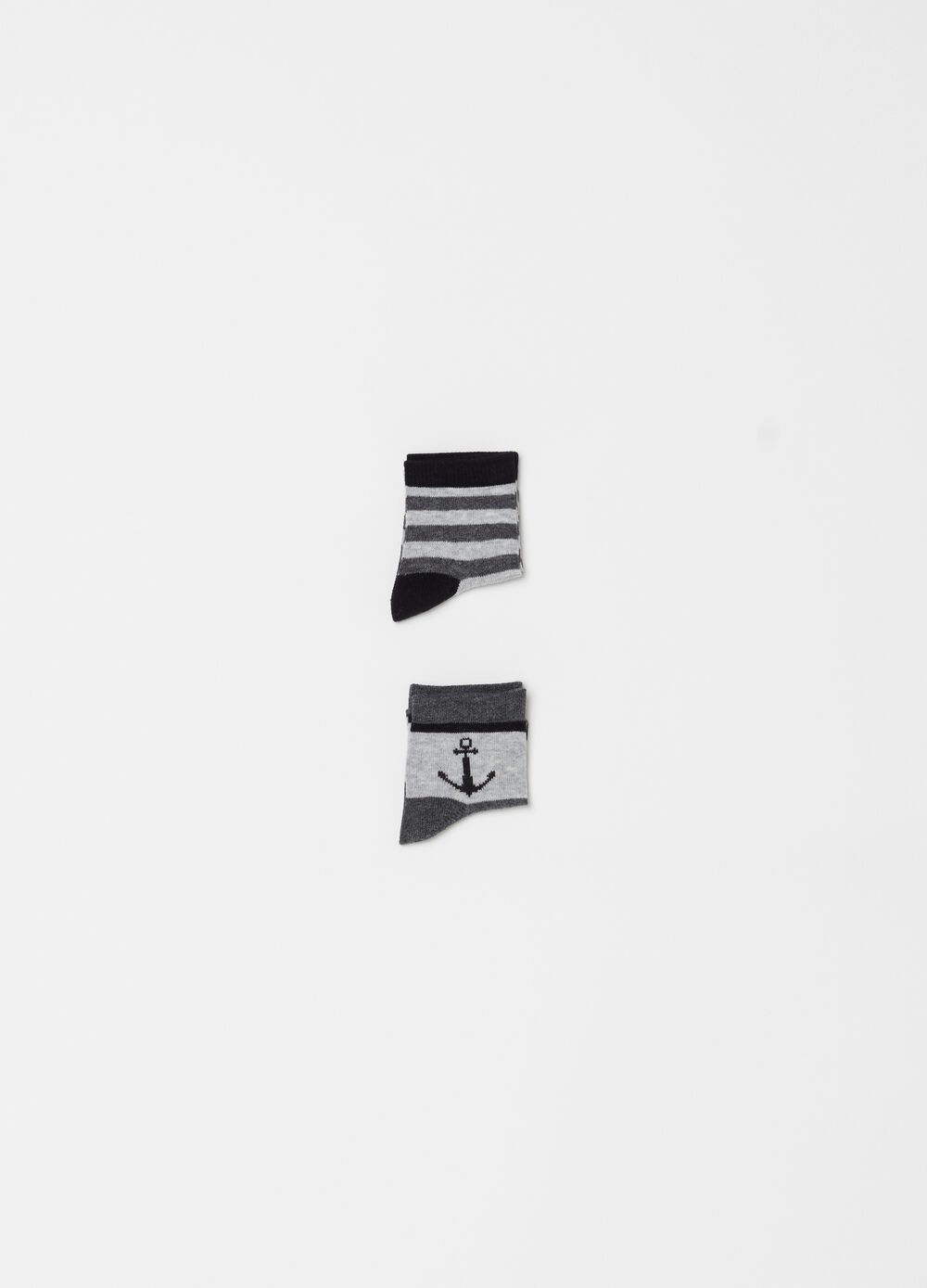 Two-pack short socks with stripes and embroidery