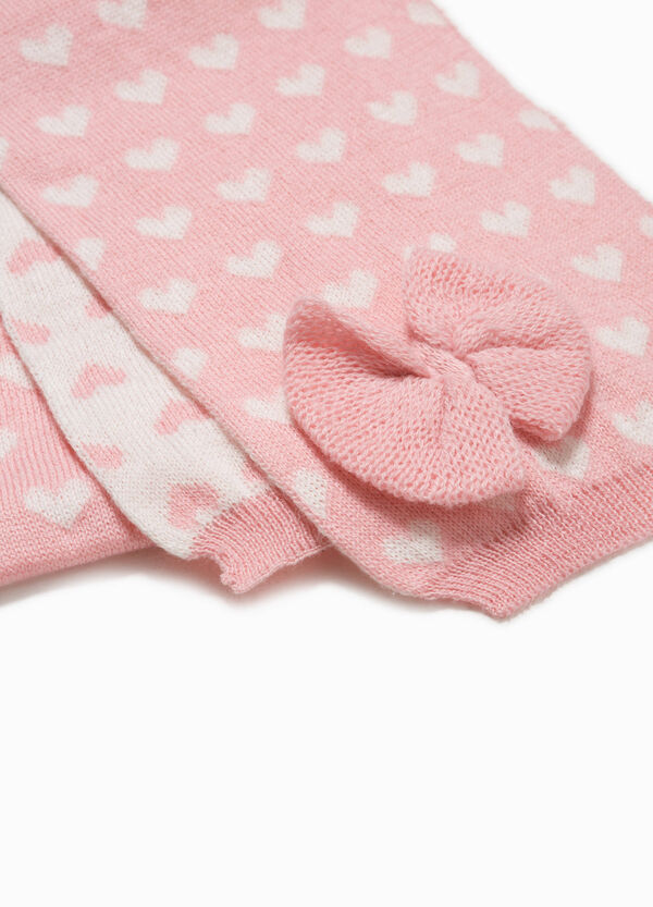 Knitted scarf with hearts and bow | OVS