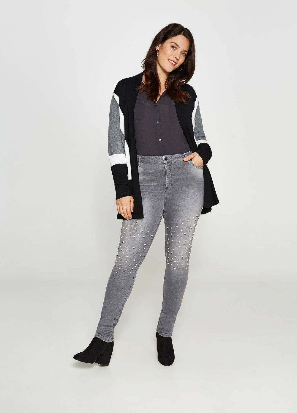 Jeans stretch used con perline Curvy