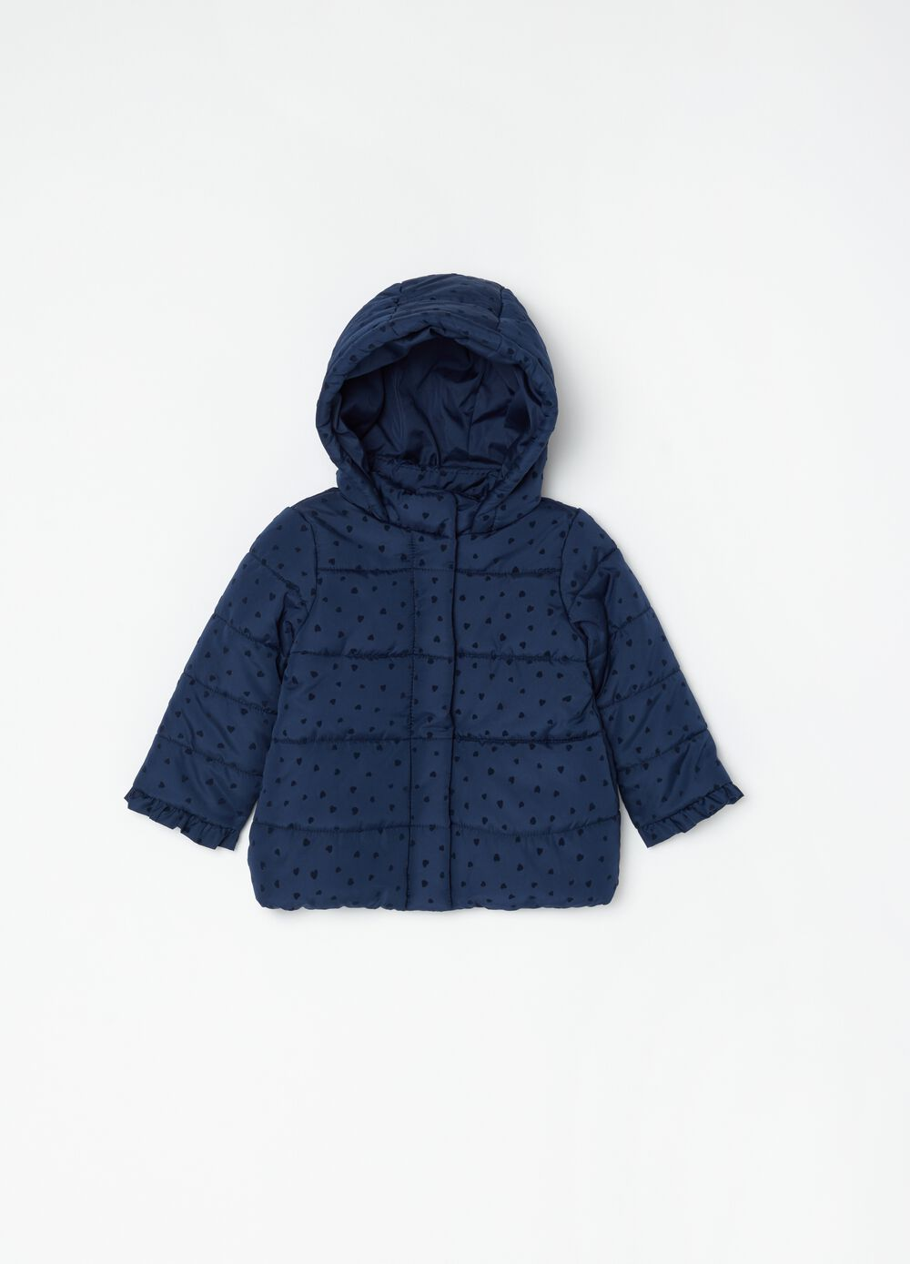 Padded jacket with micro hearts pattern