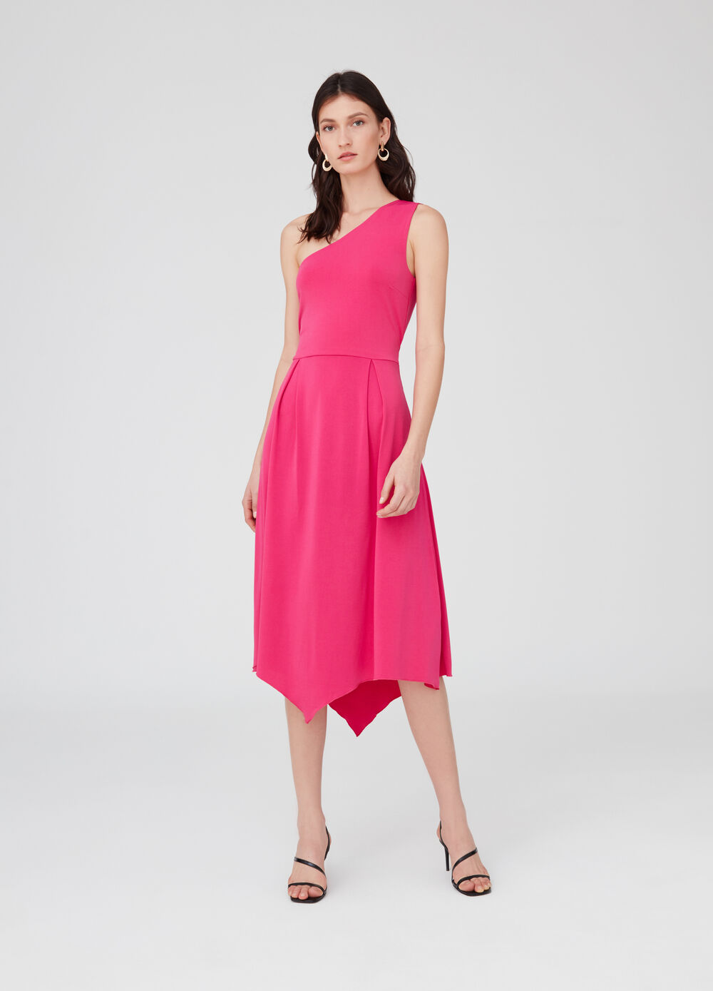 Stretch single-shoulder dress with inserts