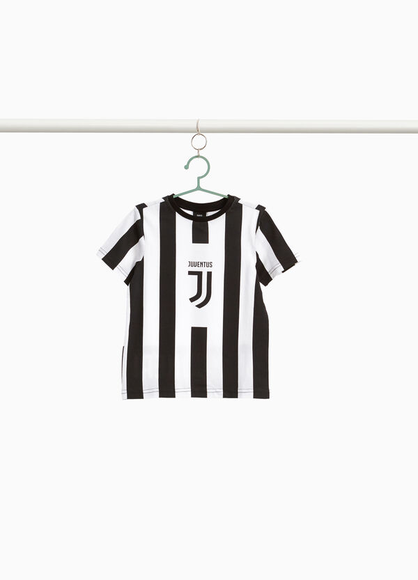 Striped Juventus print T-shirt in 100% cotton