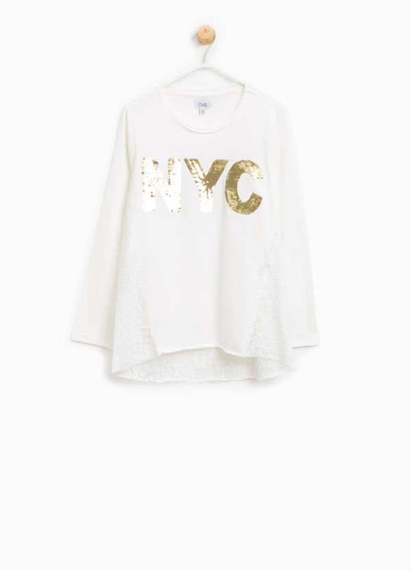 T-shirt in cotton with lace and sequins | OVS
