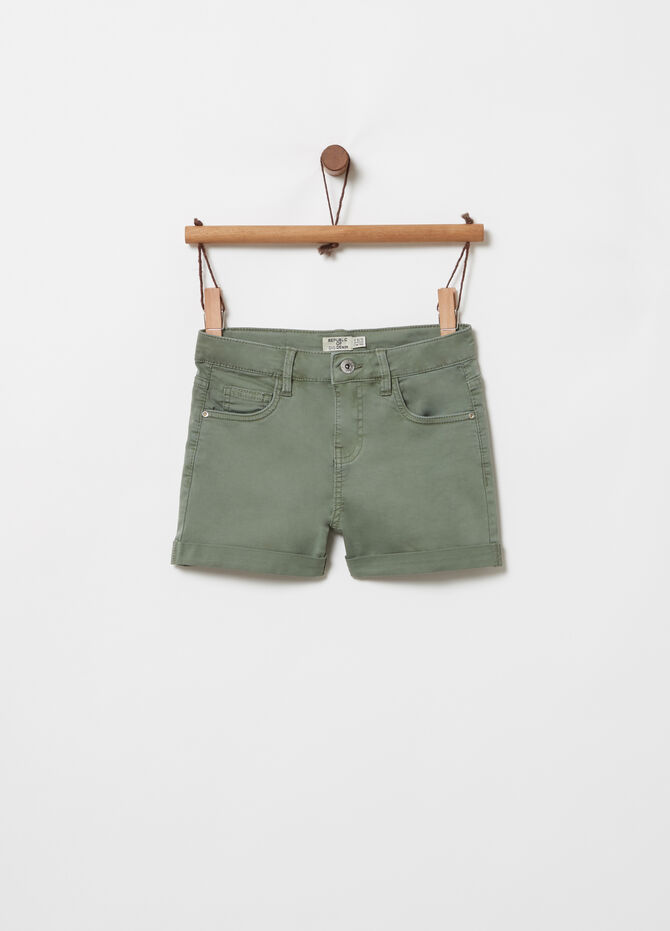 Denim shorts with elasticated waist and turn-ups