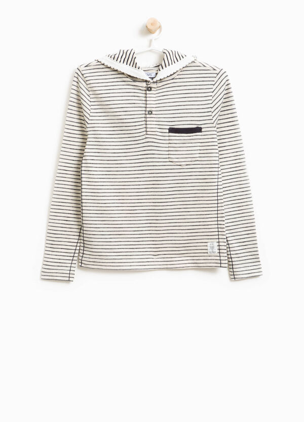 Striped T-shirt with hood and pocket