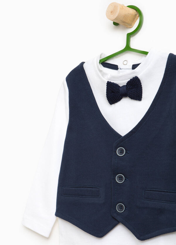 T-shirt with faux layered gilet and bow | OVS