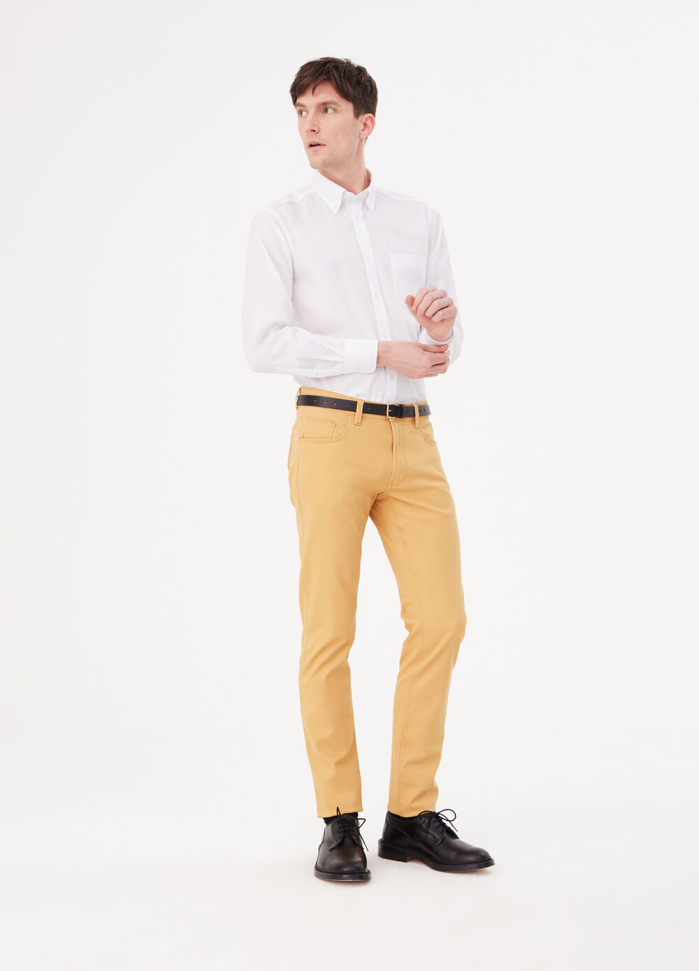 Solid colour slim-fit stretch cotton trousers
