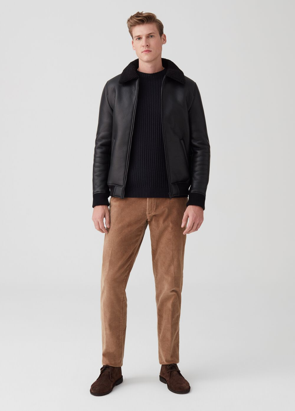 Shearling-effect jacket with zip