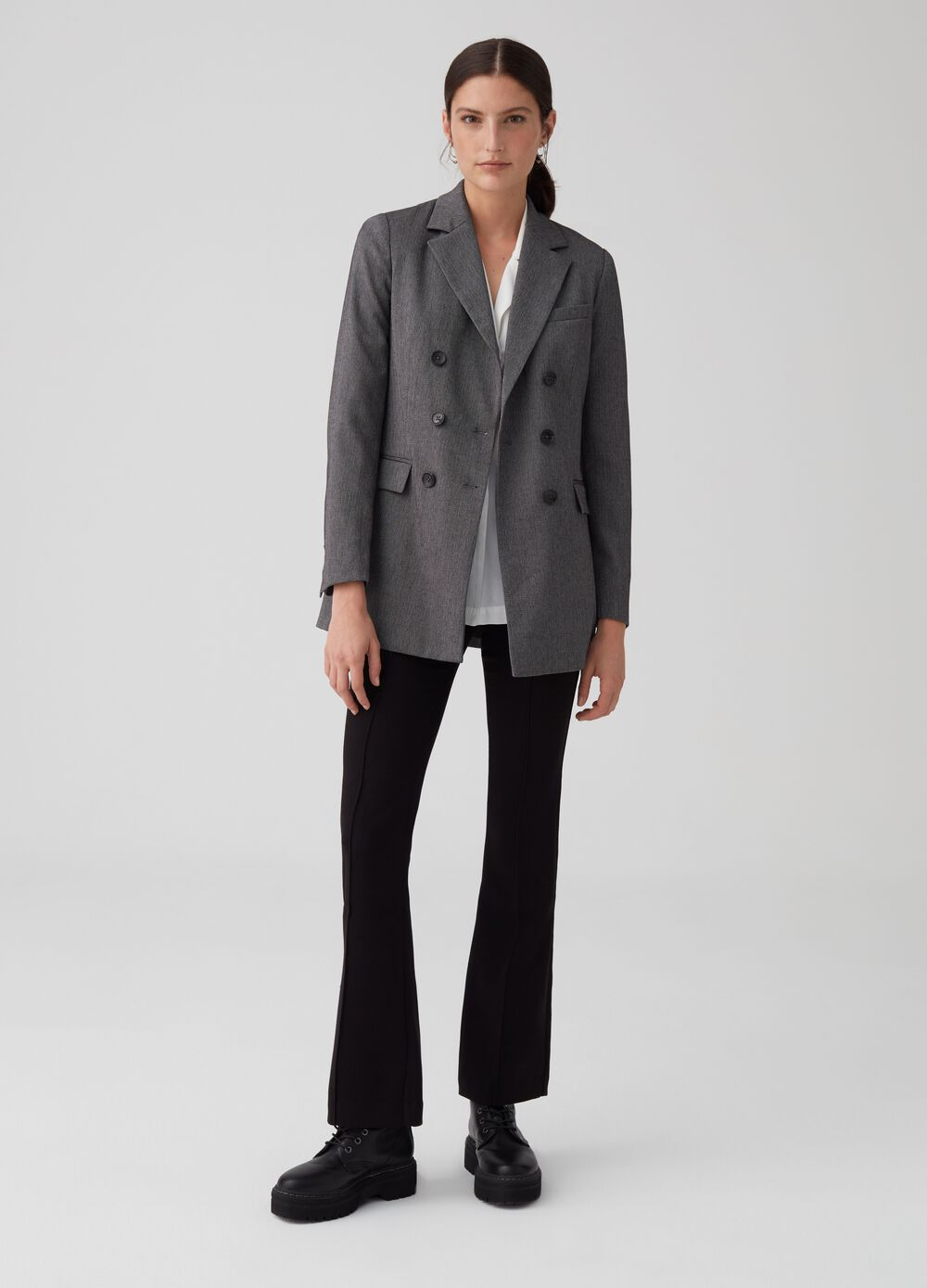 Flare trousers in comfort fabric