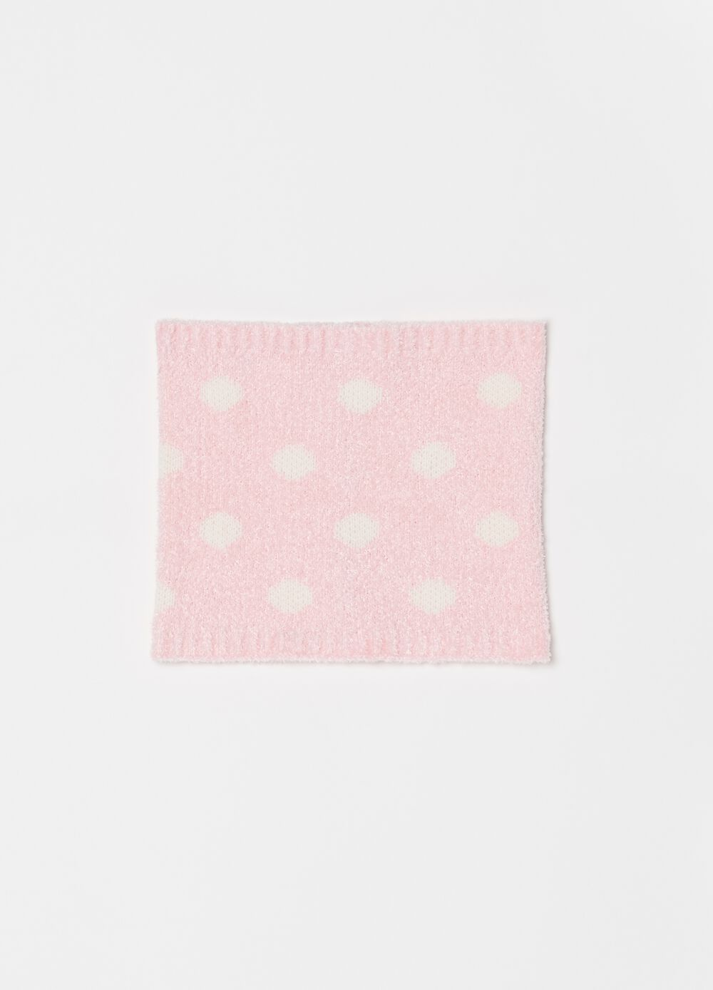Chenille scarf with polka dot pattern