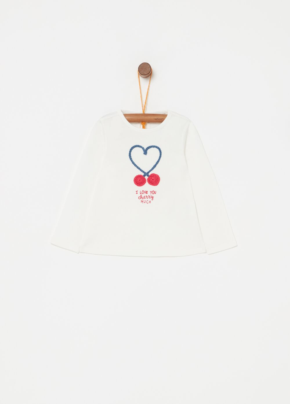Long-sleeved biocotton T-shirt with embroidery